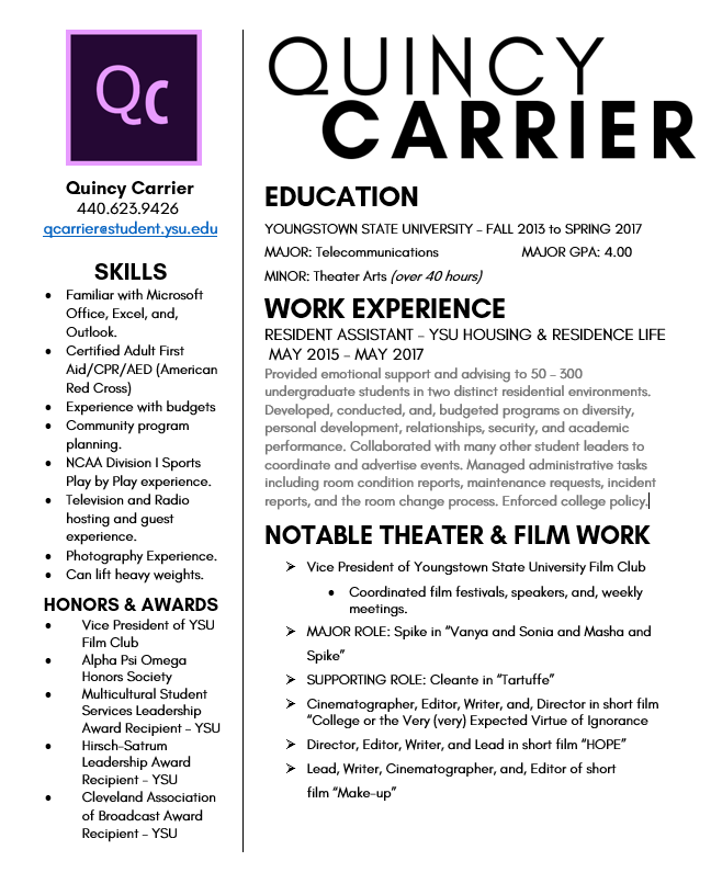 resume quincy carrier